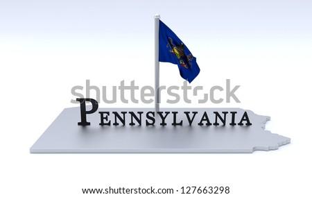 Pennsylvania map - stock photo