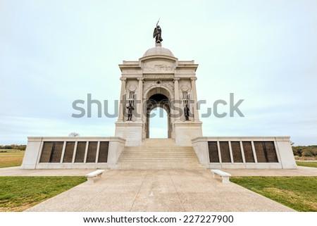 Pennsylvania Memorial monument at the Gettysburg National Military Park, Pennsylvania. - stock photo