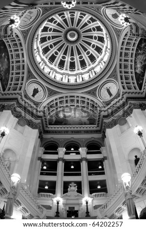 Pennsylvania State Capitol - Inside the rotunda at the Pennsylvania State Capitol in Harrisburg, PA. - stock photo