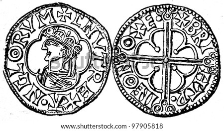 "penny of Danuta king of England, Oxford, 1014 - 1036 - an illustration to articke ""Coins"" of the encyclopedia publishers Education, St. Petersburg, Russian Empire, 1896"