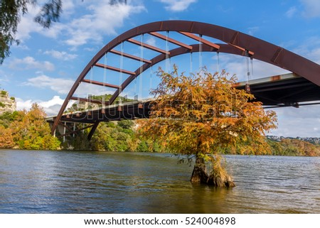 Pennybacker Bridge also known as 360 Bridge in Fall, Austin, Texas.