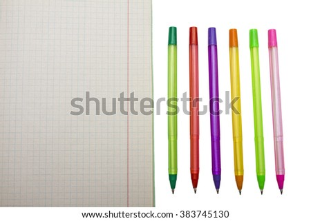 Pens collection isolated on white (with clipping work path).office supplies,closeup,color pens - stock photo