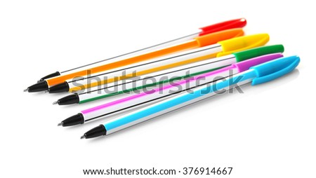 Pens isolated on white background