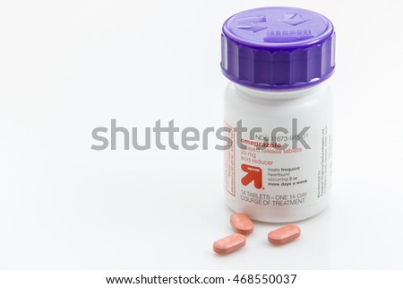 Pensacola, FL - August 14, 2016:  Omeprazole is a  medication used for GERD or acid reflux disease.