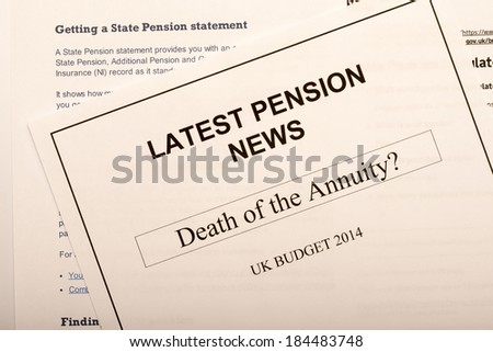 Pension change documents, reflecting major change in UK pension laws from 2014.