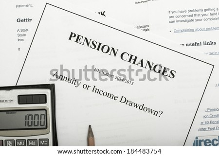 Pension change documents, reflecting major change in UK pension laws from 2014. - stock photo
