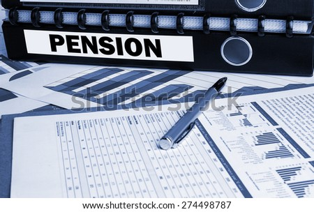 pension concept on document folder