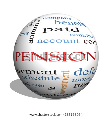 Pension 3D sphere Word Cloud Concept with great terms such as benefit, deferred, retirement and more. - stock photo