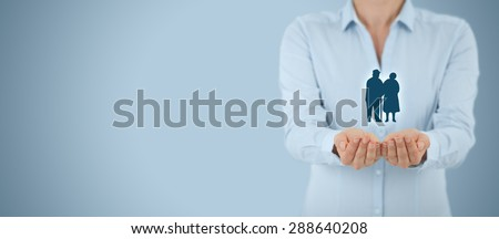 Pension insurance, senior business, life insurance and support seniors concepts. Wide banner composition.