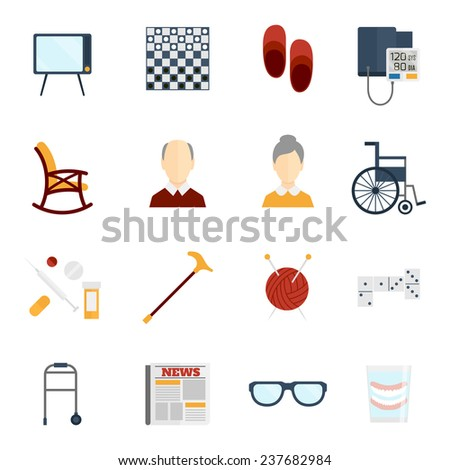 Pensioners life old man care icons flat set isolated  illustration. - stock photo