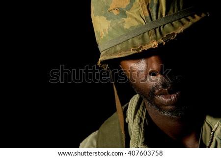 Pensive African-American Soldier (Vietnam War) - stock photo