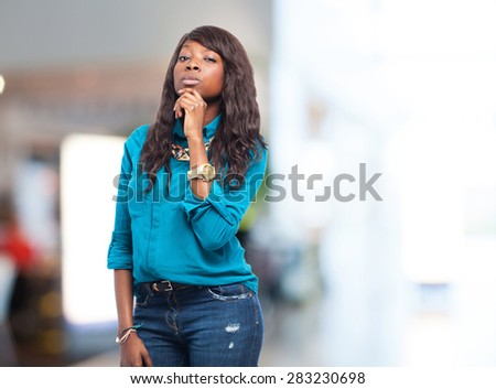 pensive black woman isolated - stock photo
