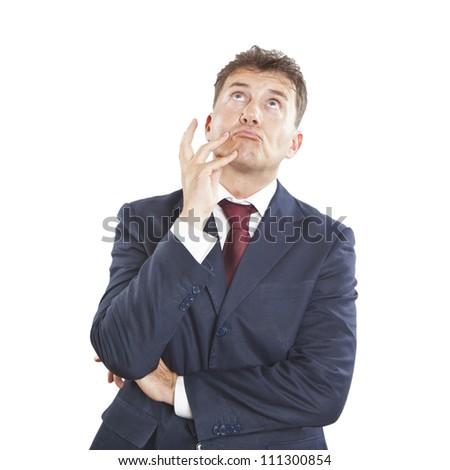 pensive businessman - stock photo