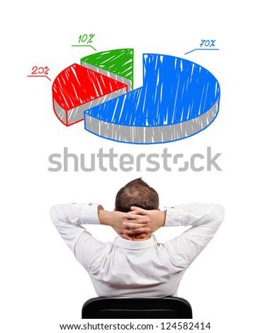 pensive businessman looking at pie chart profit - stock photo