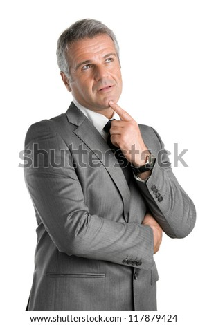 Pensive businessman looking up with pensive expression isolated on white background - stock photo