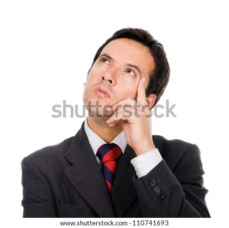 Pensive businessman on white background