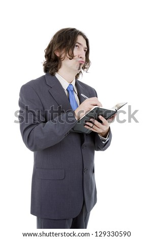 pensive businessman with a book in white background