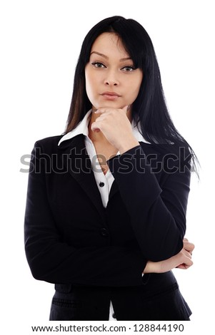 Pensive businesswoman in closeup pose, isolated on white background - stock photo