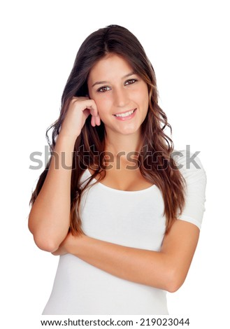 Pensive casual girl isolated on a white background - stock photo