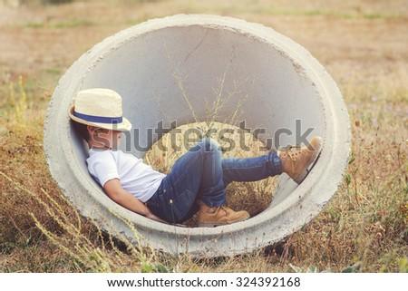 pensive child - stock photo
