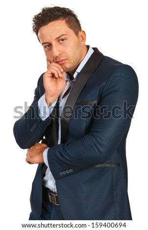 Pensive executive man looking camera isolated on white background