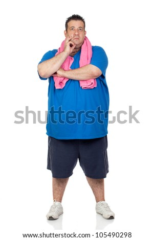 Pensive fat man playing sport isolated on a white background - stock photo