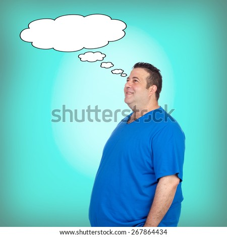 Pensive fat men with a black bubble on a green background - stock photo