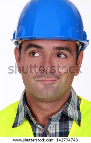 Pensive foreman - stock photo
