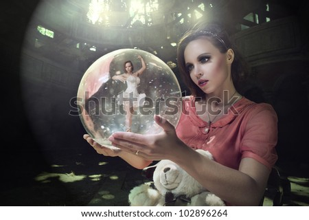 pensive girl dreams of ballet. Ballerina in the ball with smoke