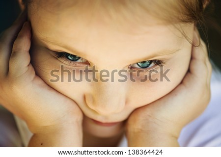 Pensive girl portrait. - stock photo