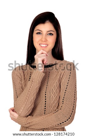 Pensive girl smiling isolated on a white background - stock photo