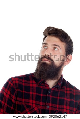 Pensive handsome with long beard isolated on a white background