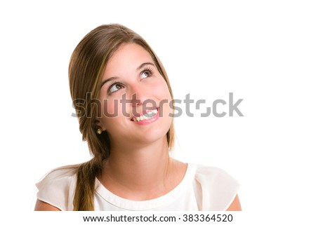 Pensive hispanic young woman thinking of the options. Image isolated on white with clipping path. - stock photo