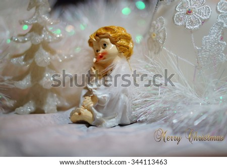 Pensive little angel - Christmas - selective focus
