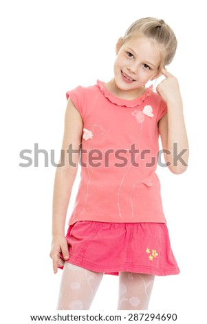 Pensive little girl put her hand to her head-Isolated on white background - stock photo