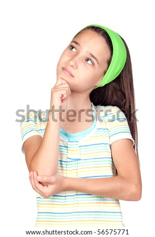Pensive little girl with blue eyes isolated on white background - stock photo