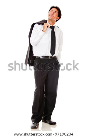 Pensive male pilot looking up - isolated over a white background - stock photo
