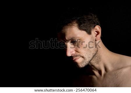 Pensive Man In Darkness, - stock photo