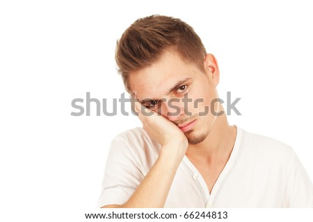 pensive man isolated on a white background