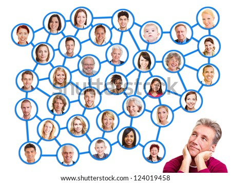 Pensive man looking up to social network group - stock photo