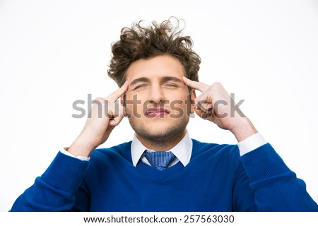 Pensive man with curly hair isolated on a white background - stock photo