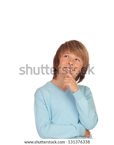 Pensive preteen boy isolated on a over white background - stock photo