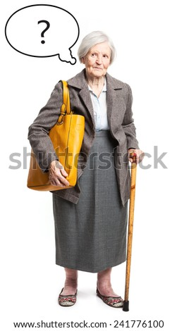 Pensive senior lady with thought bubble over white background - stock photo