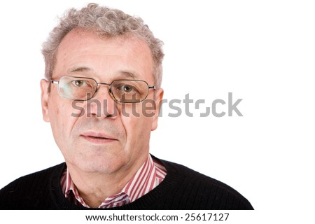 Pensive senior man looking at you isolated on white - stock photo