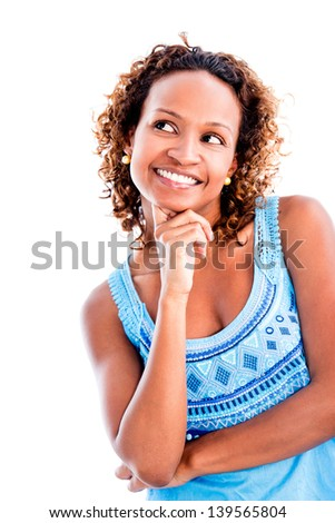 Pensive woman daydreaming - isolated over a white background - stock photo