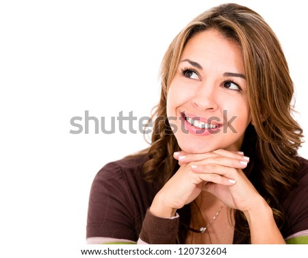 Pensive woman looking up - isolated over a white background - stock photo