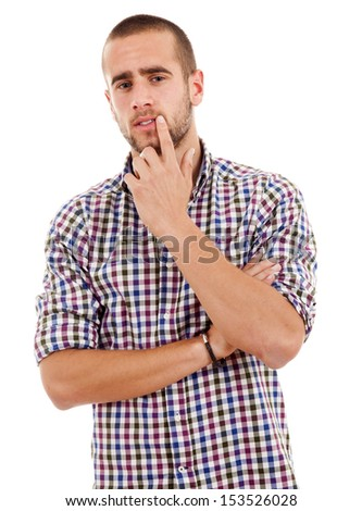 pensive young casual man portrait, isolated on white - stock photo