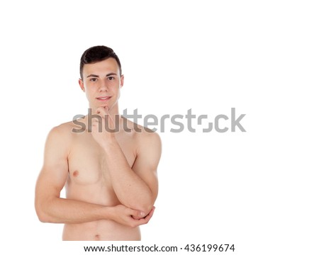 Pensive young man with naked torso isolated on white background - stock photo