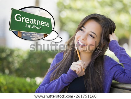 Pensive Young Woman with Thought Bubble of Greatness Just Ahead Green Road Sign. - stock photo