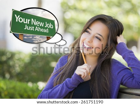 Pensive Young Woman with Thought Bubble of Your New Job Just Ahead Green Road Sign. - stock photo